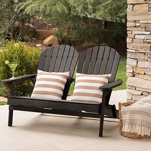 (Great Deal Furniture Muriel Outdoor Dark Grey Finish Acacia Wood Adirondack Loveseat)