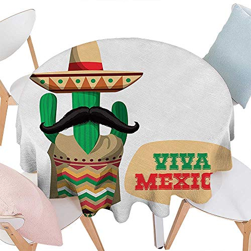 Cheery-Home Polyester Tablecloth Mexican Decorations Quote Near The Human Body Shaped Cactus Plant Moustache Print Green Cream. Suitable All Occasions,(29