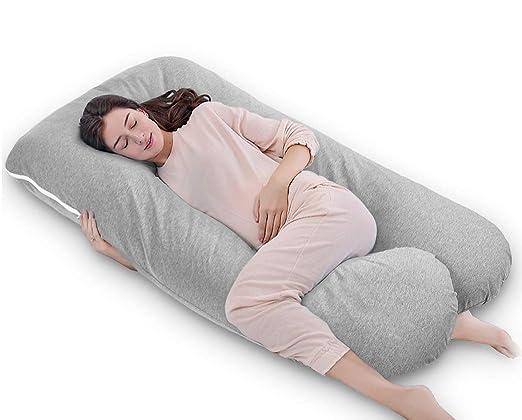 QUEEN ROSE Almohada con forma de U, Almohada de embarazo y maternidad con funda extraíble y lavable (140 x 78 cm, Jersey, Gris)