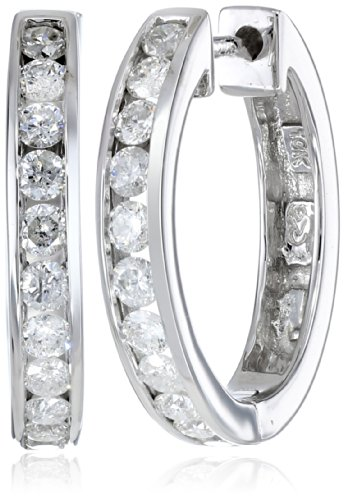 10k White Gold Channel-Set Diamond Hoop Earrings (3/4 cttw, H-I Color, I2-I3 Clarity) by Amazon Collection
