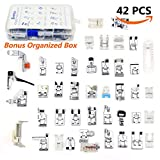 SIMPZIA 42 Pieces Sewing Machine Presser Feet Kit Set for Brother, Babylock, Janome, Singer,Elna, Toyota, New Home, Simplicity, Necchi, Kenmore, White and Other Low Shank Sewing Machines
