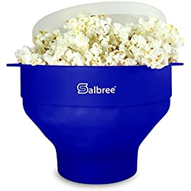 Original Salbree Microwave Popcorn Popper, Silicone Popcorn Maker, Collapsible Bowl BPA Free -18 Colors Available (Aqua) 3 Healthy Choice: There's no need to add oil in order for this microwave popcorn popper to pop delicious tasting popcorn. You can add oil before or after popping, but NEVER required. Convenient Handles: The Salbree popcorn maker has built in handles so that you don't need to use hot-pads to remove your bowl from the microwave. Save Money: using the Salbree popcorn popper saves you money over using competitor's bagged popcorn and it helps save the earth from unwanted and extra trash.