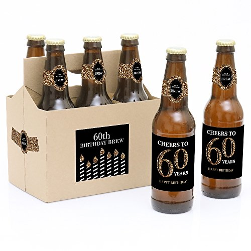 - Adult 60th Birthday - Gold - Birthday Party Decorations for Women and Men - 6 Beer Bottle Label Stickers and 1 Carrier