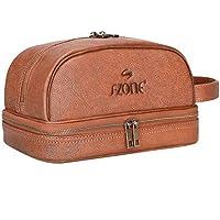 Big Sale - S-ZONE Mens Genuine Leather Toiletry Bag Portable Travel Organizer Shaving Dopp Kit Cosmetic Makeup Case