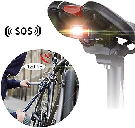 o Accesorio Bici Faros traseros - Luz LED 3 colores con Alarma ...