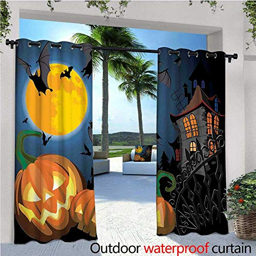 Halloween Outdoor Privacy Curtain for Pergola Gothic Halloween Haunted House Party Theme Design Trick or Treat for Kids Print Thermal Insulated Water Repellent Drape for Balcony W108