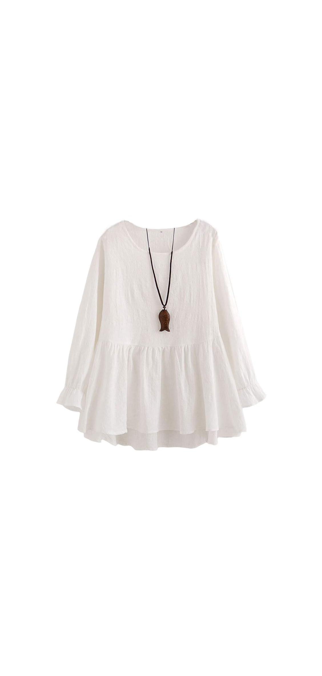 Women's Cotton Peplum Tunics Dress Ruffle Hem Babydoll