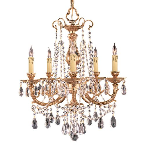 Crystorama Lighting Group 475-OB-CL-SAQ Olde Brass with Swarovski Spectra Crystal Etta Five Light Ornate Cast Brass Chandelier Accented with Crystal (Etta Olde Brass Chandelier)