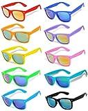 Retro Vintage Wayfarer Sunglasses Colorful Mirror Lens Matte Frame 3,5,6,10 Pairs.