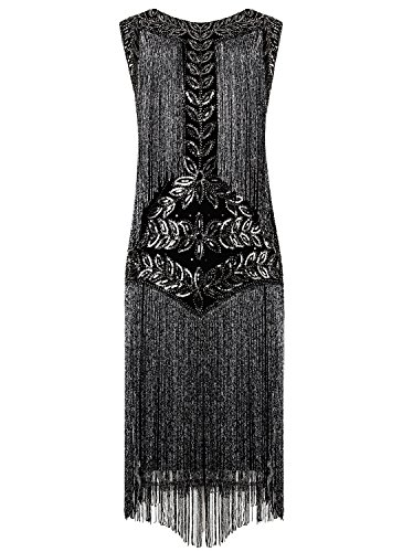 Vijiv Women's Flapper Dresses 1920s Gatsby Full Fringed Vintage Cocktail Dress