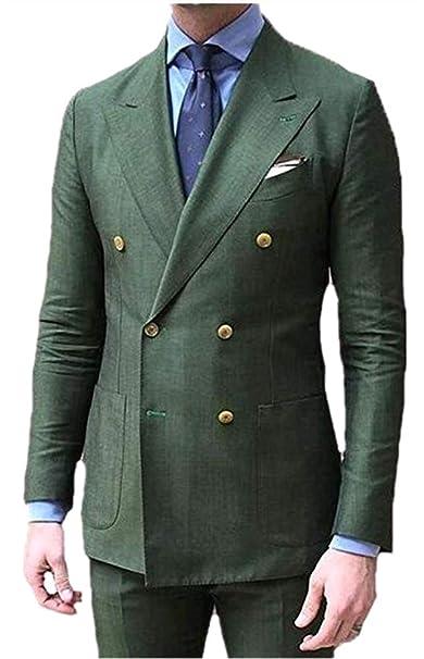Amazon.com: Diseño floral doble breasted verde hombres ...