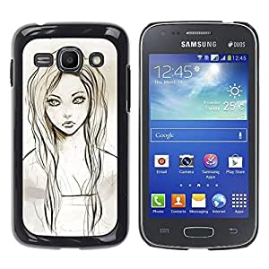 Shell-Star Arte & diseño plástico duro Fundas Cover Cubre Hard Case Cover para Samsung Galaxy Ace 3 III / GT-S7270 / GT-S7275 / GT-S7272 ( Girl Portrait Green Eyes Pencil Drawing )