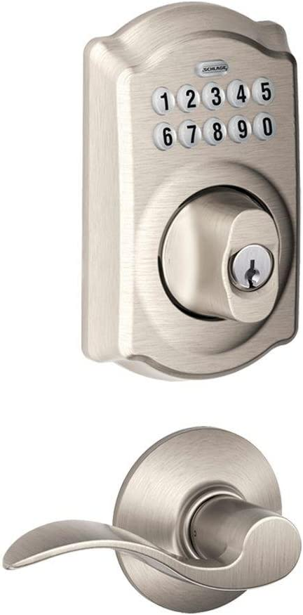 Schlage FBE365 Schlage V CAM 619 ACC Camelot Satin Nickel Keypad Combo Pack with Accent Lever
