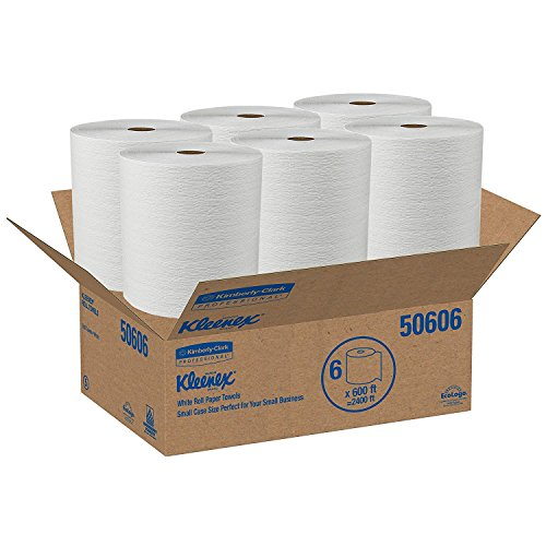 - Kleenex Hard Roll Paper Towels (50606) with Premium Absorbency Pockets, White, 6 Rolls/Case, 3,600 feet