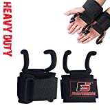 FIGHTSENSE Heavy Duty Pro Metal Weight Lifting Gym Steel Rod Hooks Pair Straps Crossfit Wraps Hand Bar Bodybuilding Training Workout