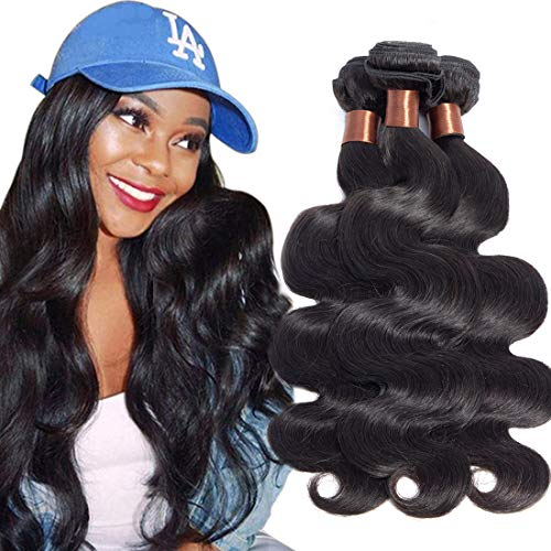 BLACKMOON HAIR Indian Virgin Hair Body Wave Hair Weaves 3 Bundles Full Head Set Unprocessed Virgin Human Hair Weaves Natural Black Color 18 18 20inch