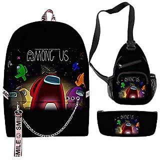 Among Us Backpack, Among Us Shoulder Bag, Among Us Pen Case - Set 3 Among Us Waterproof Fashionable Bags for Girl, Teens, Women Style 23