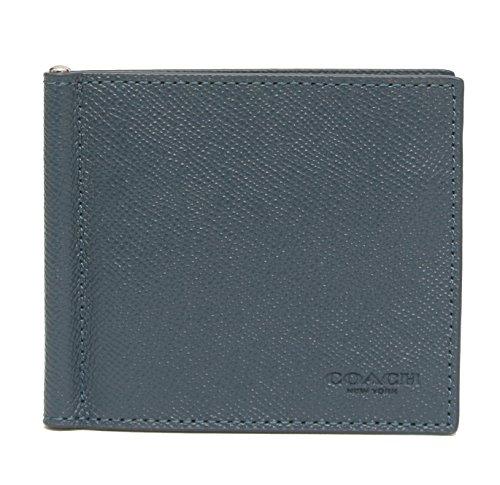 COACH CROSSGRAIN LEATHER MONEY CLIP (Blue Coaches)