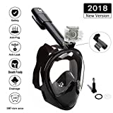 VILISUN Full Face Snorkel Mask,180° Large View Underwater Diving Mask,Dry Top Snorkeling Tube and Detachable GoPro Mount, Breathe Freely Anti Fog Anti Leak Design For Adults And Youth(K-Black,S/M)