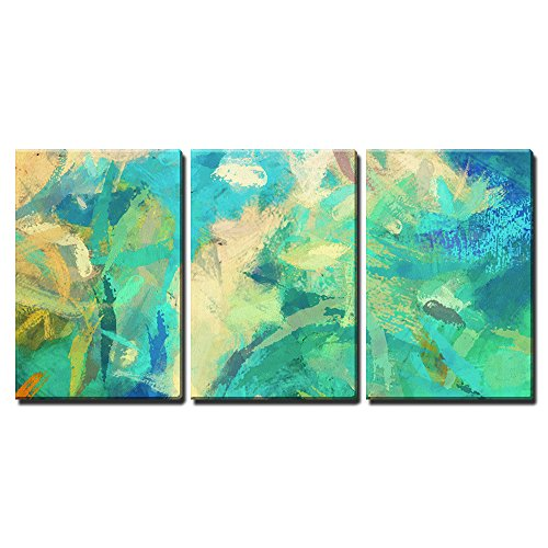 Art Abstract Painted Background With Green Blue And Orange Blots X3 Panels