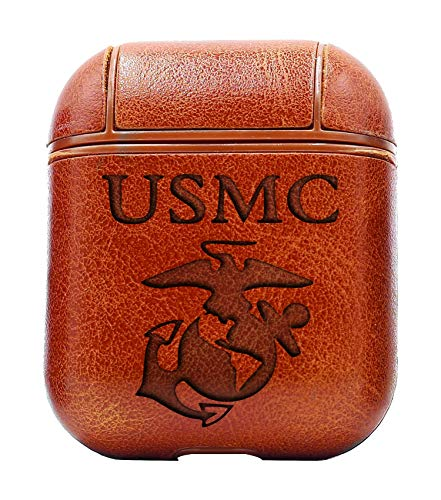 (USMC (Vintage Brown) Air Pods Protective Leather Case Cover - a New Class of Luxury to Your AirPods - Premium PU Leather and Handmade exquisitely by Master Craftsmen )