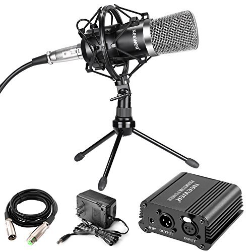 Neewer Professional Audio Condenser Microphone with Mic Shock Mount, 48V Phantom Power Supply, XLR 3 Pin Microphone Cable, Iron Mini Desktop Tripod for Home Studio Sound Recording,Broadcasting(Black)