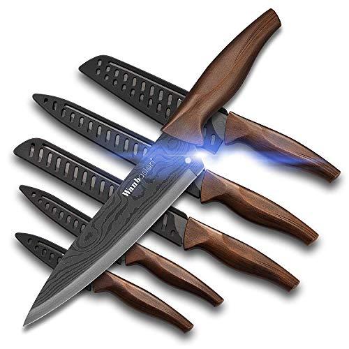 Wanbasion 6 Teilig scharfe Messer Set küche Edelstahl, küchen Messer Set scharf damast, Profi Messer Set für köche kochmesser damastmesser rostfrei