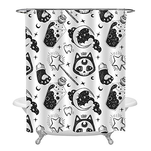 MitoVilla Black White Cat and Stars Moon Halloween Shower Curtain Set with Hooks, No Liner Needed, Simple Sketch Bathroom Accessories for Children Home Decor, 54 W x 78 L -