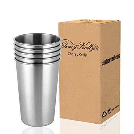 CherryKelly All ZEM - Juego de 5 Vasos de Cerveza de Acero Inoxidable Reutilizables, apilables, para Camping, Senderismo, al Aire Libre, sin BPA, 500 ...