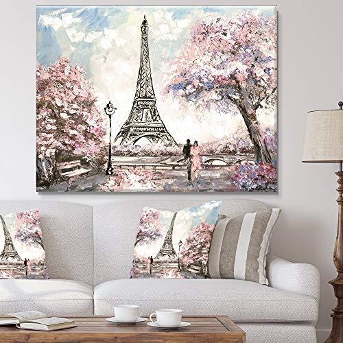 Floral Lovers in Paris Canvas Painting Wall Art Decor - Pink, Parisian Garden Eiffel Tower Print - 1 Piece Panel 32