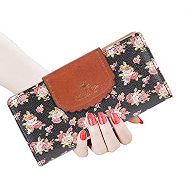 SeptCity Womens Wallet Cute Floral Canvas Clutch Gift for Her(5 Color)