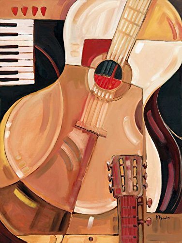 "Abstract Guitar by Paul Brent 29"" x 39"" Giclee Canvas Art Print"