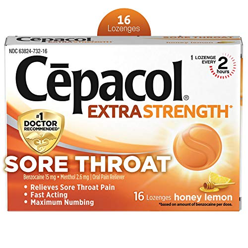 Cepacol Extra Strength Sore Throat Relief Lozenges, Honey Lemon Cough Drops, Maximum Numbing- Fast Acting Sore Throat, Mouth & Canker Sore Pain Relief with Benzocaine & Menthol, 16 Count (Pack of 3)