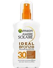 Garnier Ambre Solaire Crema Solare Abbronzatura Intensa, Protezione Solare in Spray Ideal Bronze, IP30, Resistente all'Acqua, 200 ml