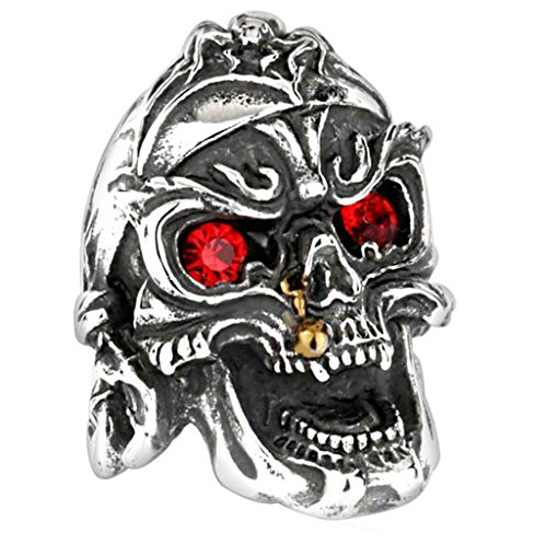 [Aooaz 316L Stainless Steel Mens Ring Bands Skull Silver Size 11 Punk Gothic Vintage Novelty Ring] (Tarnished Costume Jewelry Cleaner)