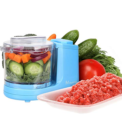 MYONAZ Mini Chopper 2 Cup One-Touch Mini Food Chopper for Blending Vegetable Fruit and Meat (Blue) (Best Fruits And Vegetables For Blending)