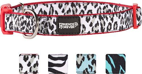Friends Forever Dog Collar Dogs, Fashion Print Leopard Pattern Cute Puppy Collar, 14-20 Medium Red