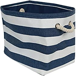 Canvas Blue Striped Storage Tote with Rope Handles