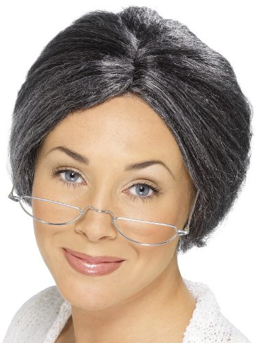 Smiffy's Women's Granny Perm Wig, Grey, One Size