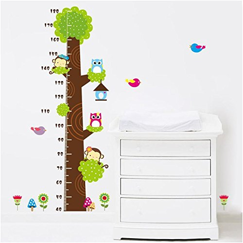 Height Measurement Growth Chart Tree Cute Monkey and Owls Wall Vinly Decal Decor Sticker Removable Super for Nursery Playroom Girls and Boys Children's Bedroom