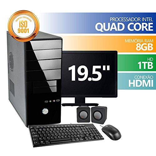 Computador QuadCore 8GB 1Tb Mon 19 KIT