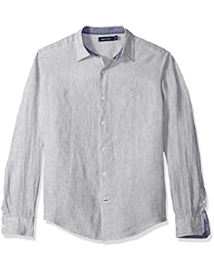 Men's Long Sleeve Solid Color Button Down Linen Shirt