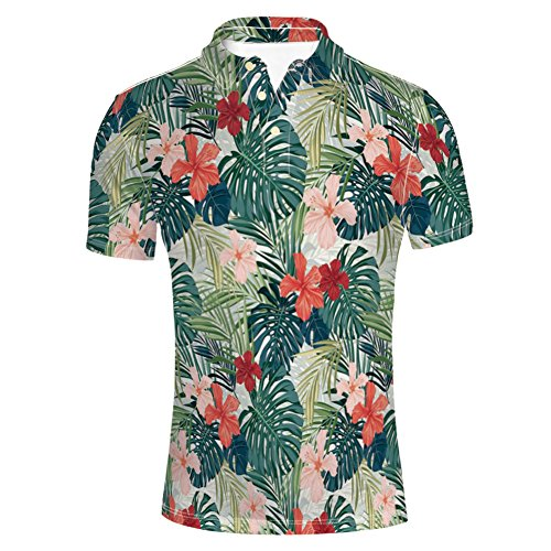 Ginger Rash Guard - iPrint T-Shirts Hibiscus Plumeria Crepe Ginger Flowers Decoration for Mens