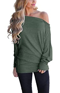 LACOZY Women s Off Shoulder Long Sleeve Oversized Pullover Sweater Knit  Jumper Loose Tunic Tops 4413590f0