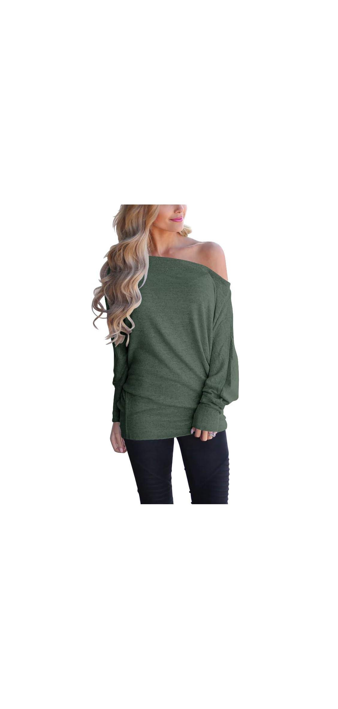 Women's Off Shoulder Long Sleeve Oversized Pullover Knit