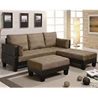 300160 82 Fulton Contemporary Sofa Bed Group with 2 Large Ottomans Vinyl Base with Microfiber Top and Back in Two-Tone Brown & Tan Finish