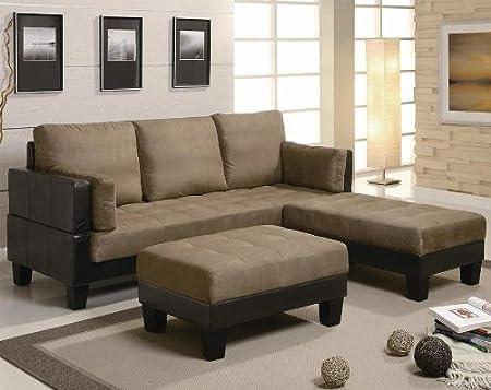 Excellent 3 Piece Sofa Bed Set Tan Microfiber Brown Vinyl Amazon Co Unemploymentrelief Wooden Chair Designs For Living Room Unemploymentrelieforg