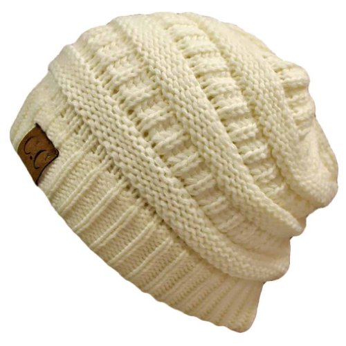 Thick Slouchy Knit Unisex Beanie Cap Hat,One Size,Winter White