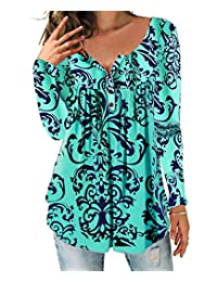 DEMO SHOW Women's Tunic Top Loose Long Sleeve V Neck Button Up Pleated Floral Henley Shirts Blouse T Shirt (Mint Green, 2XL)