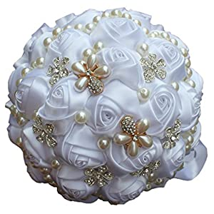 S-SSOY Popular Hand Made Adorn Pearls Diamond Silk Ribbon Roses Bridesmaid Bridal Artificial Bouquets Customization Bride Holding Bouquet Wedding Corsage Flower 37